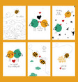 set of love cards with bees and birds vector image