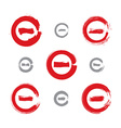 Set of red hand-drawn validation icons scanned and vector image