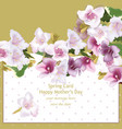 spring delicate flowers bouquet card background vector image vector image
