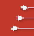 three plugs on red background vector image
