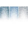 three shiny winter backgrounds with snow vector image