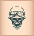 vintage skull soldier in helm monochrome hand vector image vector image