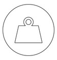 weight black icon outline in circle image vector image