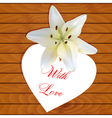 White heart with lily vector image vector image