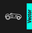 white line vintage sport racing car icon isolated vector image vector image