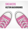 Background of simple pink classic sneakers vector image