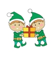Christmas Elves Holding Gift Box Xmas Characters vector image