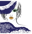 girl with in a lace hat fashion vector image