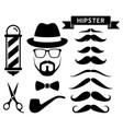 set of hipster barber elements vector image