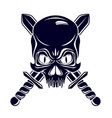 aggressive skull pirate emblem jolly roger with vector image