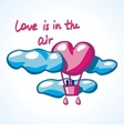 air balloon in a shape of heart in clouds vector image vector image