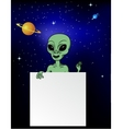 Alien with blank sign vector image vector image
