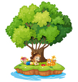An island with a girl and a cat vector image