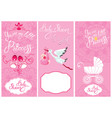 baby girl shower set party decoration scrapbook vector image vector image