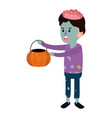 bad boy with zombie costume and pumpkin treat vector image