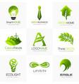 bio organic green logo template collection design vector image vector image