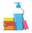 bottle with dispenser and sponge vector image vector image