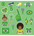 brazil supporter stickers vector image