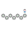 businessman character running on success gears vector image vector image