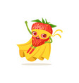 cartoon character of superhero strawberry flying vector image