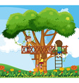 Children climbing up the tree in the garden vector image vector image