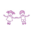 children holding hands characters vector image