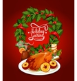 Christmas turkey with wine and holly wreath poster vector image vector image