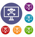 computer monitor with a skull and bones icons set vector image vector image
