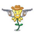 cowboy daffodil flower character cartoon vector image vector image