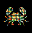 crab mosaic color silhouette aquatic animal vector image vector image