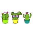 cute cartoon cactuses vector image vector image