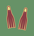diving flippers sign cordovan icon and vector image