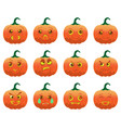 emotion halloween cartoon pumpkins vector image vector image
