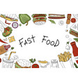 fast food background top view on white background vector image vector image