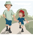 Father and son are on the road vector image vector image