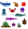 Flat fish icons set vector image