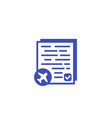 flight documents icon on white vector image