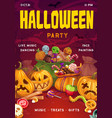 halloween sweets pumpkins invitation on party vector image vector image