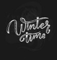 hand drawn lettering phrase winter time for card vector image vector image