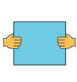 hands holding paper concept line icon vector image