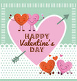 happy valentines day pink heart and cartoon couple vector image