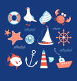 icons to the marine theme vector image vector image