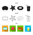 isolated object equipment and swimming icon vector image vector image