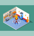 isometric museum hall composition vector image vector image