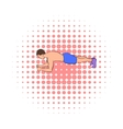 Man practicing yoga icon comics style vector image vector image