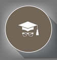 mortar board or graduation cap with glass vector image vector image