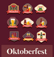 oktoberfest label with set icons vector image