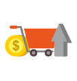 online shopping cart arrow and coin money nfc vector image vector image