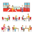 People In Sweet Pastry Cafe Set Of vector image vector image