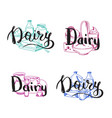 piles of milk products set with dairy vector image vector image
